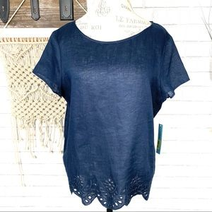 NWT Antonio Milani 100% linen Navy embroidered top